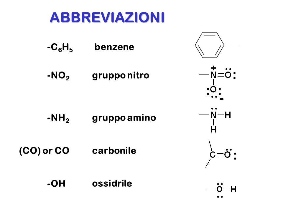 -C 6 H 5 benzene -NO 2 gruppo nitro -NH 2 gruppo amino (CO) or COcarbonile ABBREVIAZIONI.. : :: + - : -OH ossidrile..