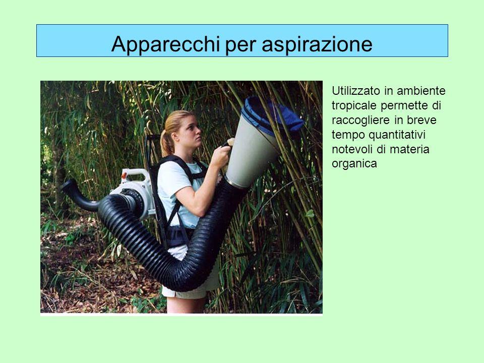 Apparecchi per aspirazione Utilizzato in ambiente tropicale permette di raccogliere in breve tempo quantitativi notevoli di materia organica