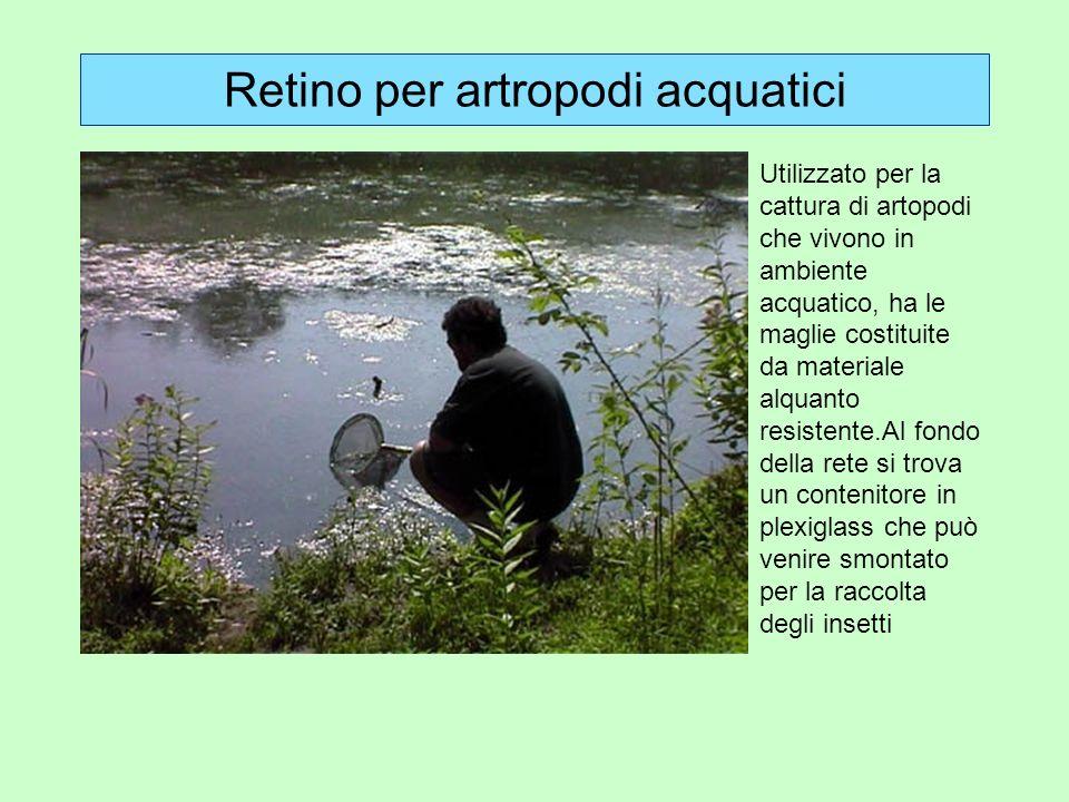 Retino per artropodi acquatici Utilizzato per la cattura di artopodi che vivono in ambiente acquatico, ha le maglie costituite da materiale alquanto r