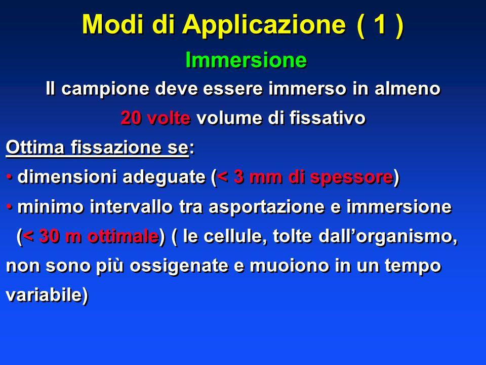 Modi di Applicazione ( 1 ) Immersione Il campione deve essere immerso in almeno 20 volte volume di fissativo Ottima fissazione se: dimensioni adeguate