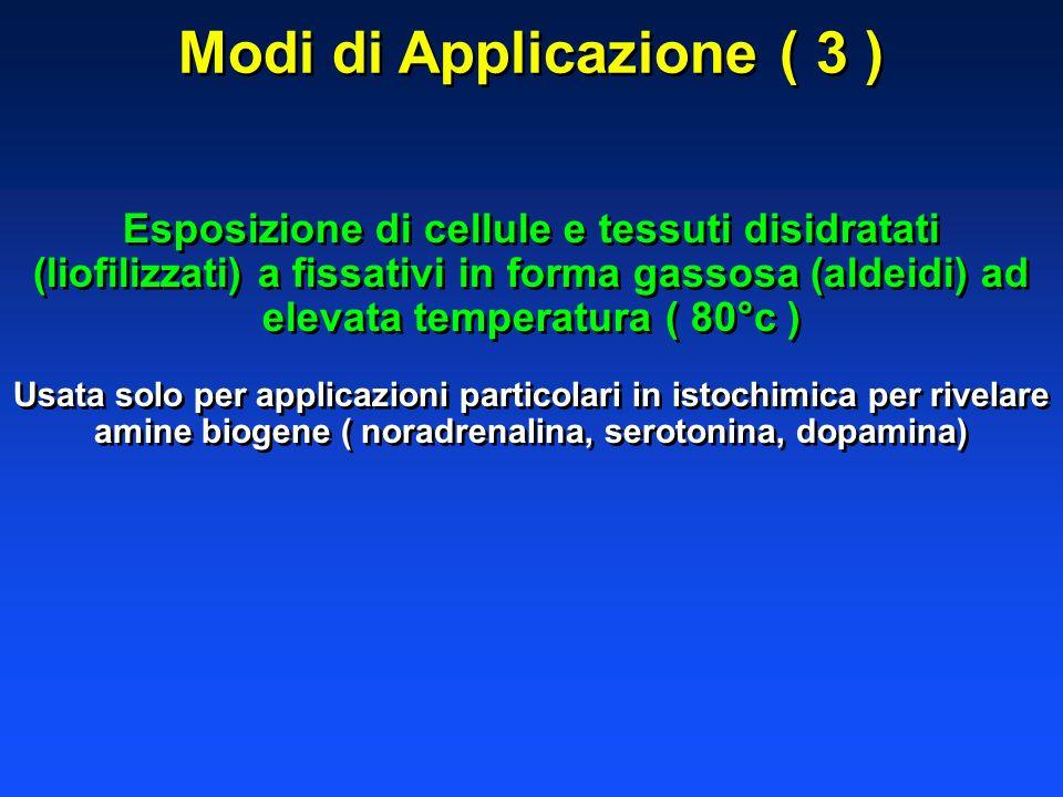 Modi di Applicazione ( 3 ) Esposizione di cellule e tessuti disidratati (liofilizzati) a fissativi in forma gassosa (aldeidi) ad elevata temperatura (