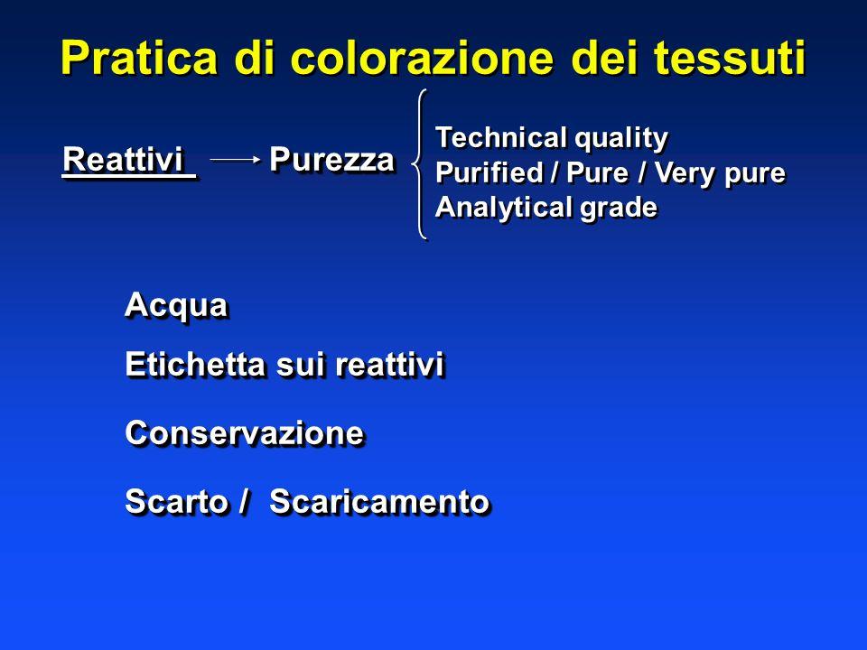 Pratica di colorazione dei tessuti Reattivi Purezza Acqua Etichetta sui reattivi Conservazione Scarto /Scaricamento Reattivi Purezza Acqua Etichetta s