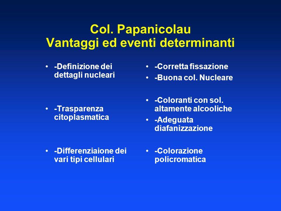 Col. Papanicolau Vantaggi ed eventi determinanti -Definizione dei dettagli nucleari -Trasparenza citoplasmatica -Differenziaione dei vari tipi cellula