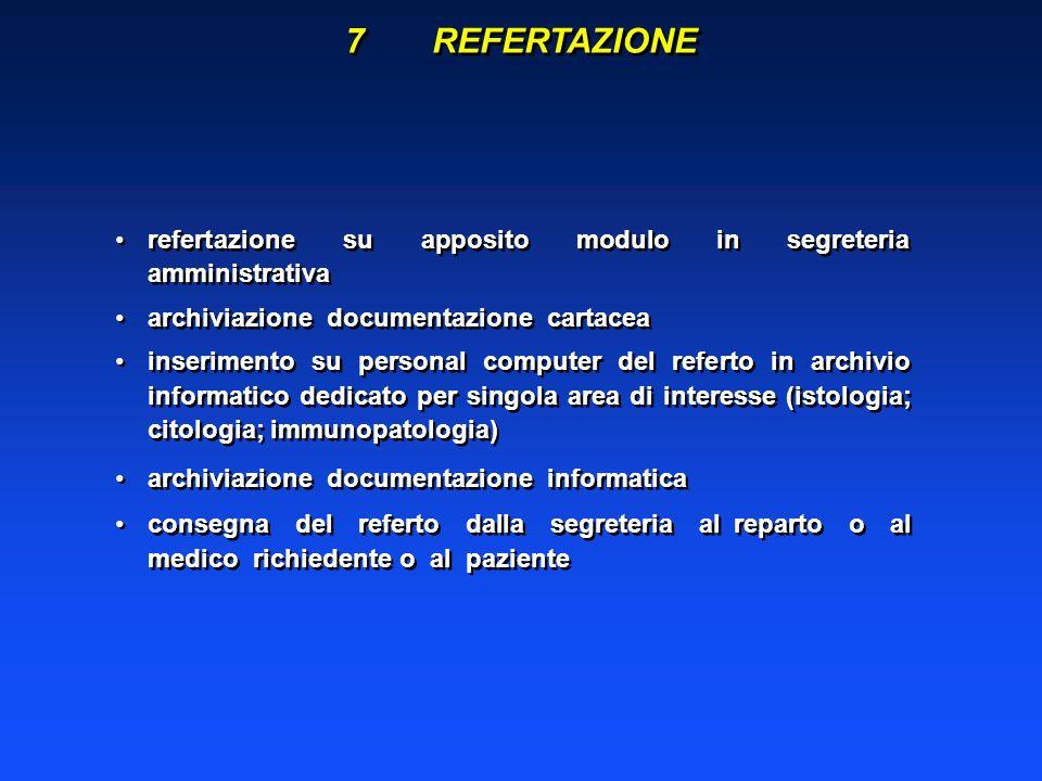 7REFERTAZIONE refertazione su apposito modulo in segreteria amministrativa archiviazione documentazione cartacea inserimento su personal computer del