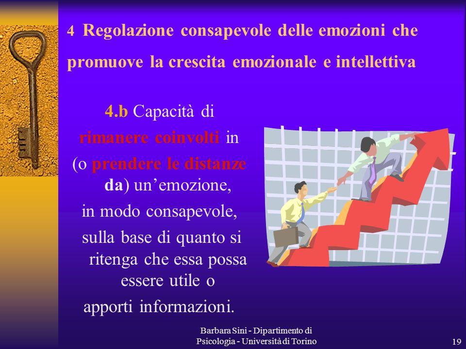 Barbara Sini - Dipartimento di Psicologia - Università di Torino19 4.b Capacità di rimanere coinvolti in (o prendere le distanze da) unemozione, in mo