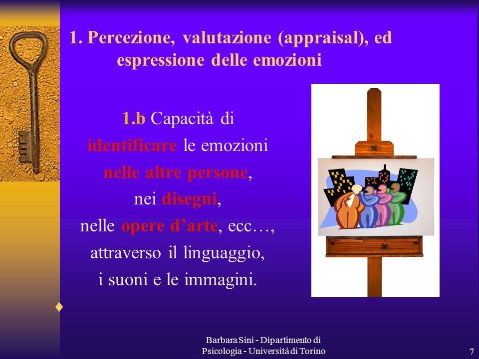 Barbara Sini - Dipartimento di Psicologia - Università di Torino7 1.b Capacità di identificare le emozioni nelle altre persone, nei disegni, nelle ope