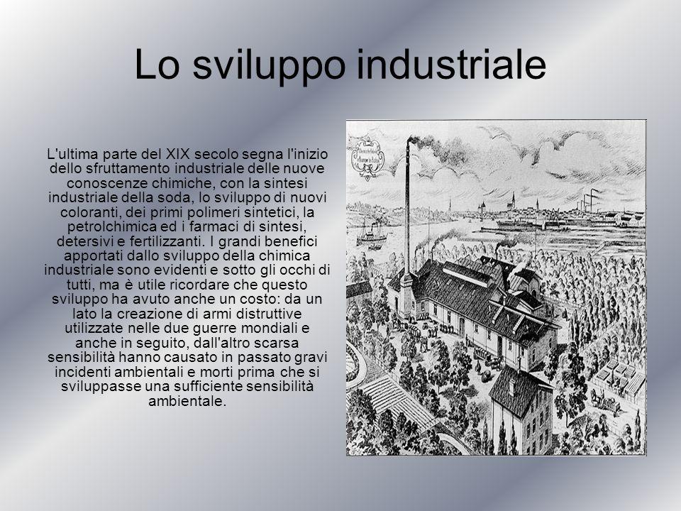 Lo sviluppo industriale L'ultima parte del XIX secolo segna l'inizio dello sfruttamento industriale delle nuove conoscenze chimiche, con la sintesi in