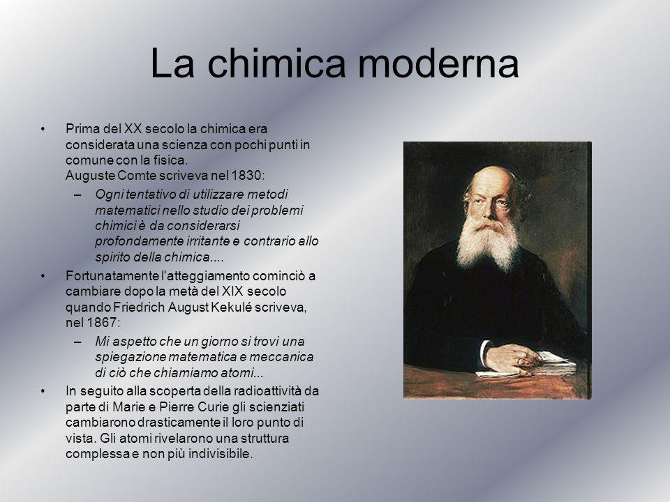 La chimica moderna Prima del XX secolo la chimica era considerata una scienza con pochi punti in comune con la fisica. Auguste Comte scriveva nel 1830