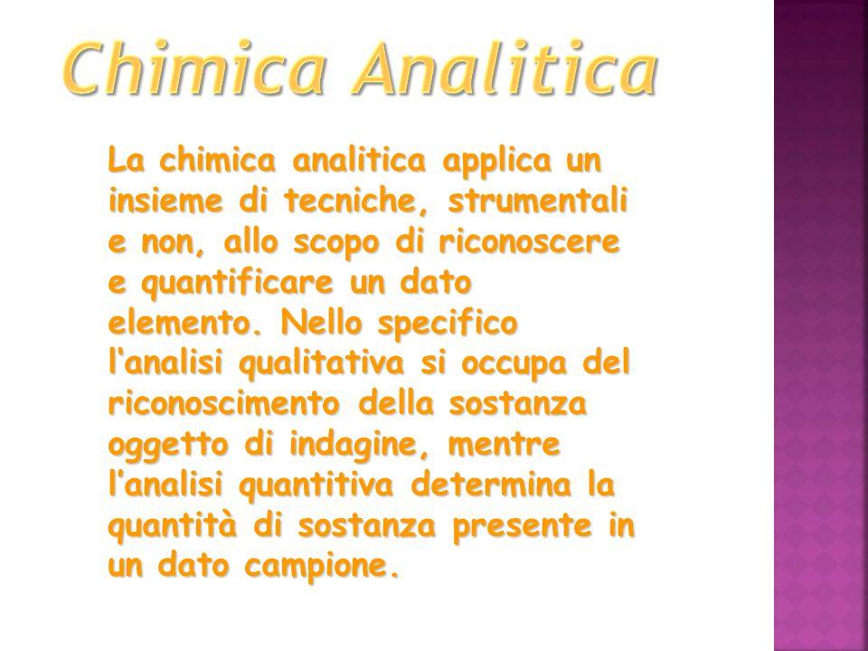 La chimica analitica applica un insieme di tecniche, strumentali e non, allo scopo di riconoscere e quantificare un dato elemento. Nello specifico lan