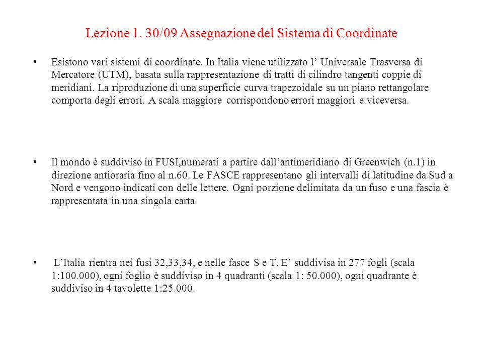 Lezione 1. 30/09 Assegnazione del Sistema di Coordinate Esistono vari sistemi di coordinate. In Italia viene utilizzato l Universale Trasversa di Merc