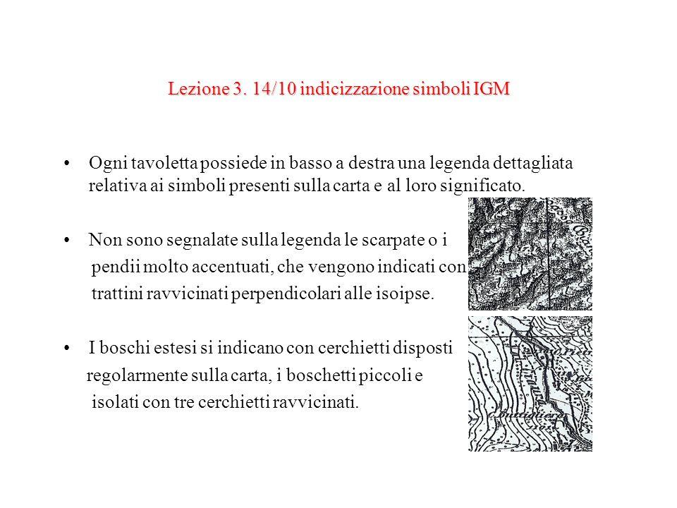 Lezione 3. 14/10 indicizzazione simboli IGM Ogni tavoletta possiede in basso a destra una legenda dettagliata relativa ai simboli presenti sulla carta