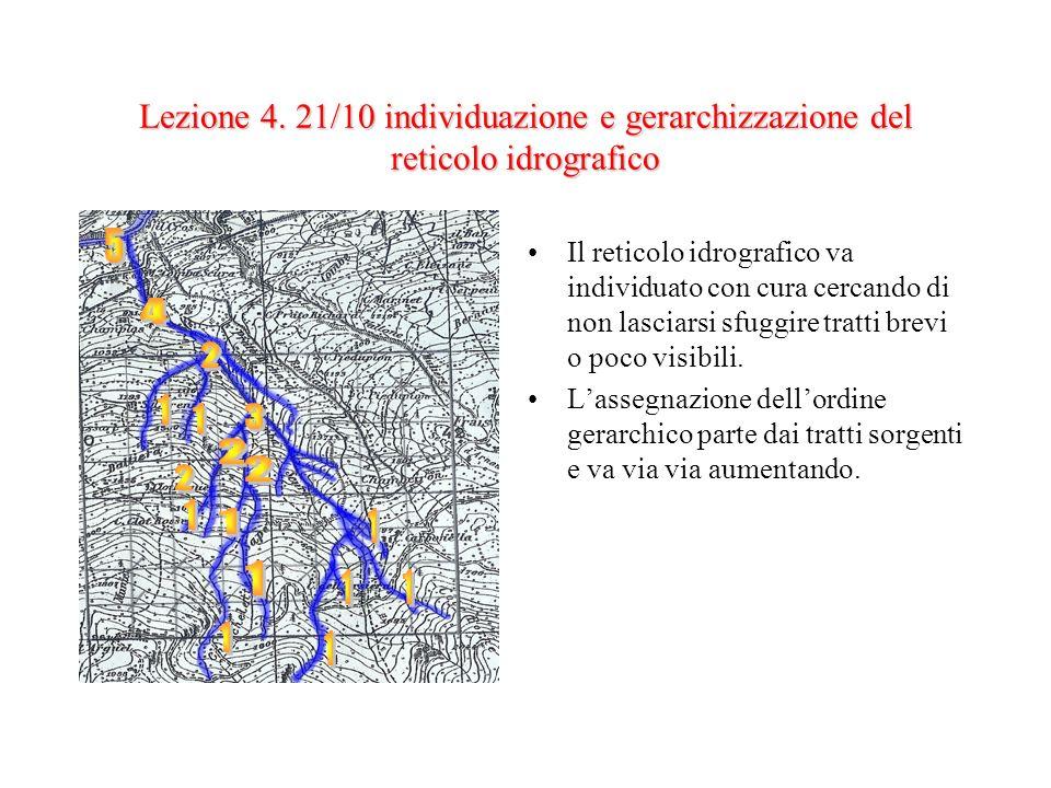 Lezione 4. 21/10 individuazione e gerarchizzazione del reticolo idrografico Il reticolo idrografico va individuato con cura cercando di non lasciarsi