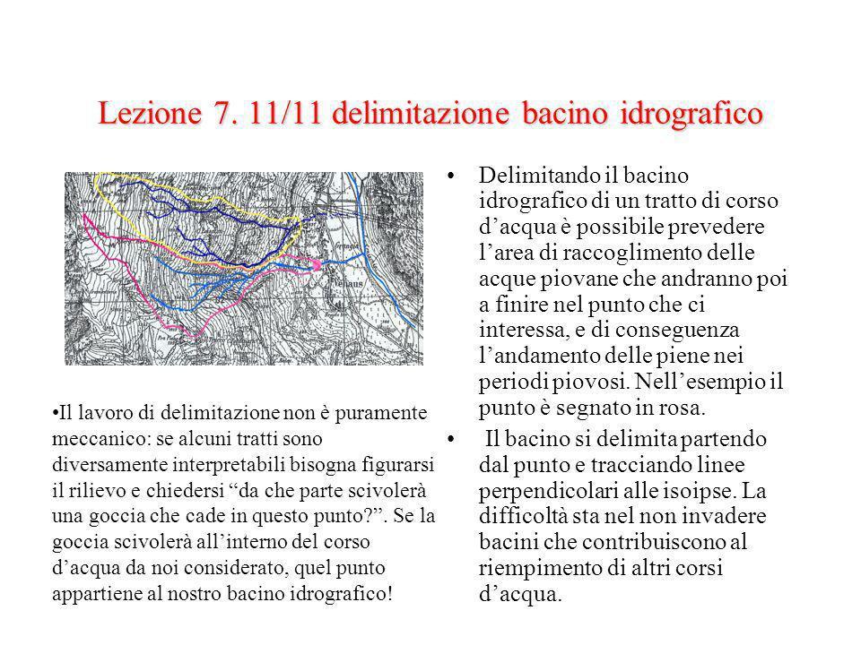 Lezione 7. 11/11 delimitazione bacino idrografico Delimitando il bacino idrografico di un tratto di corso dacqua è possibile prevedere larea di raccog