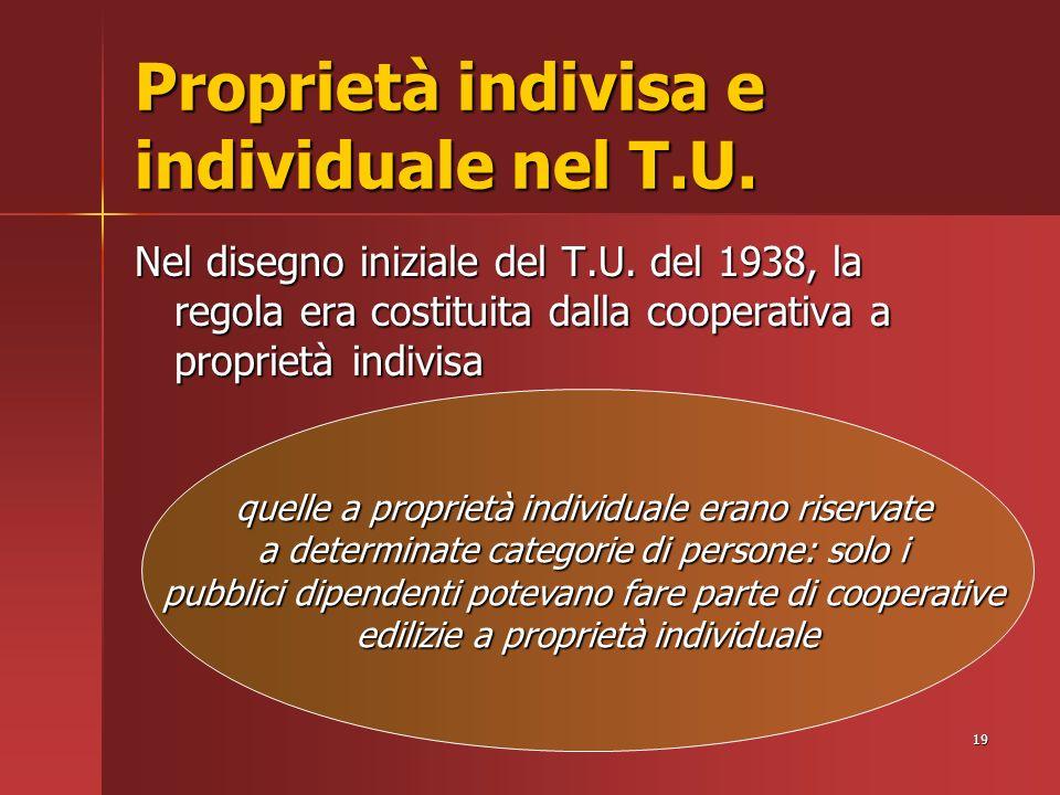 19 Proprietà indivisa e individuale nel T.U. Nel disegno iniziale del T.U.