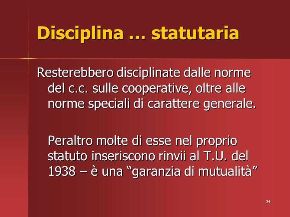 34 Disciplina … statutaria Resterebbero disciplinate dalle norme del c.c.