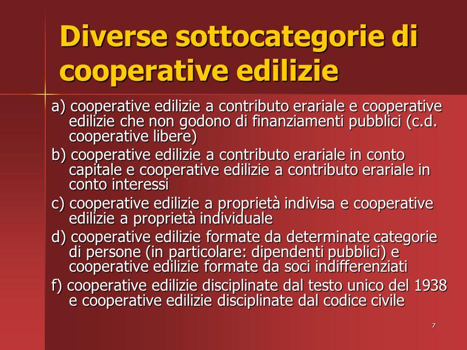 7 Diverse sottocategorie di cooperative edilizie a) cooperative edilizie a contributo erariale e cooperative edilizie che non godono di finanziamenti pubblici (c.d.