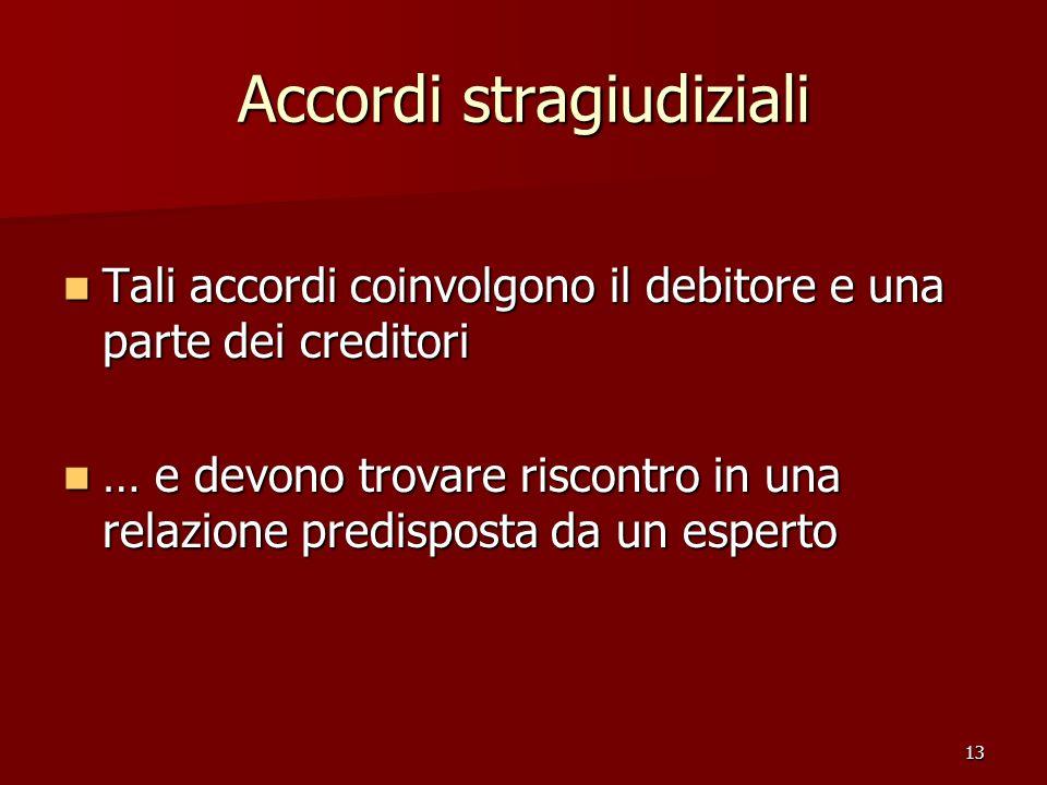 13 Accordi stragiudiziali Tali accordi coinvolgono il debitore e una parte dei creditori Tali accordi coinvolgono il debitore e una parte dei creditor