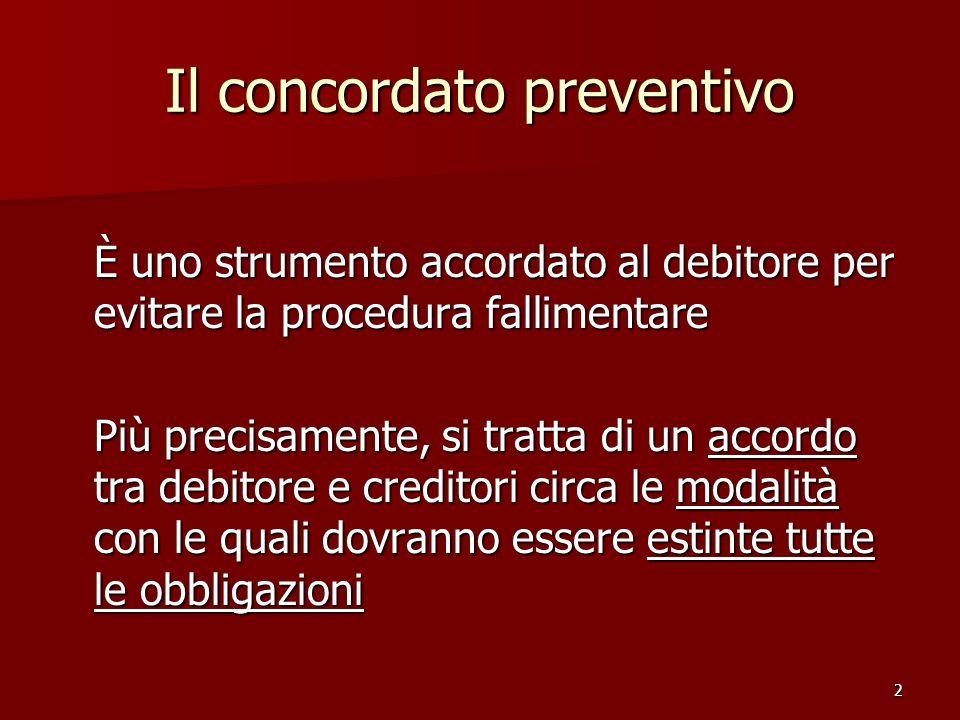 2 Il concordato preventivo È uno strumento accordato al debitore per evitare la procedura fallimentare Più precisamente, si tratta di un accordo tra d