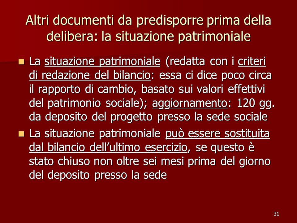 31 Altri documenti da predisporre prima della delibera: la situazione patrimoniale La situazione patrimoniale (redatta con i criteri di redazione del