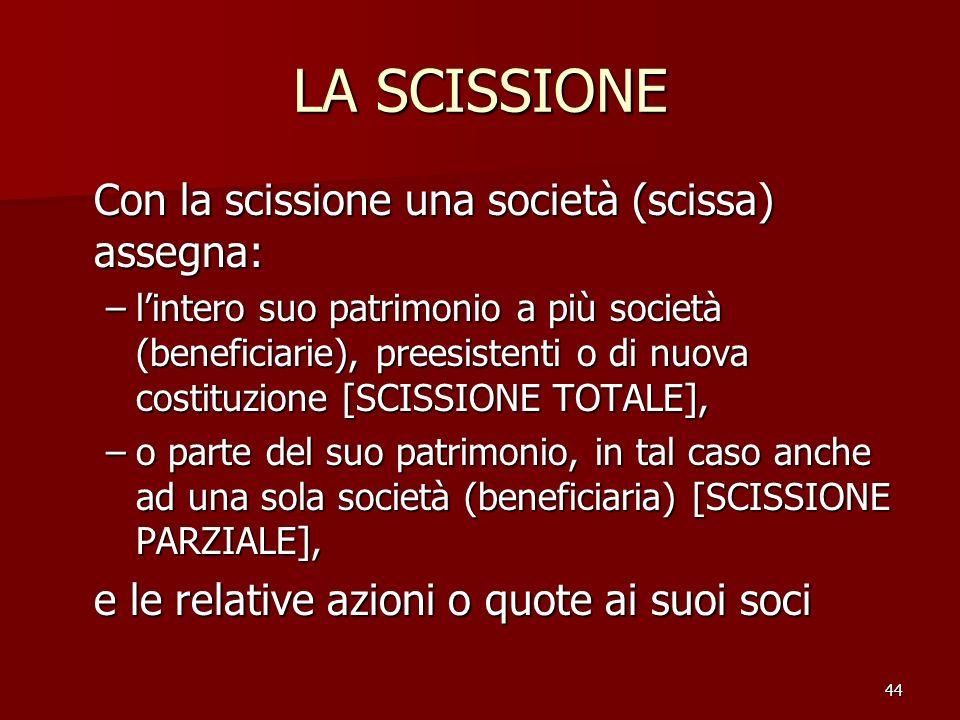 44 LA SCISSIONE Con la scissione una società (scissa) assegna: –lintero suo patrimonio a più società (beneficiarie), preesistenti o di nuova costituzi