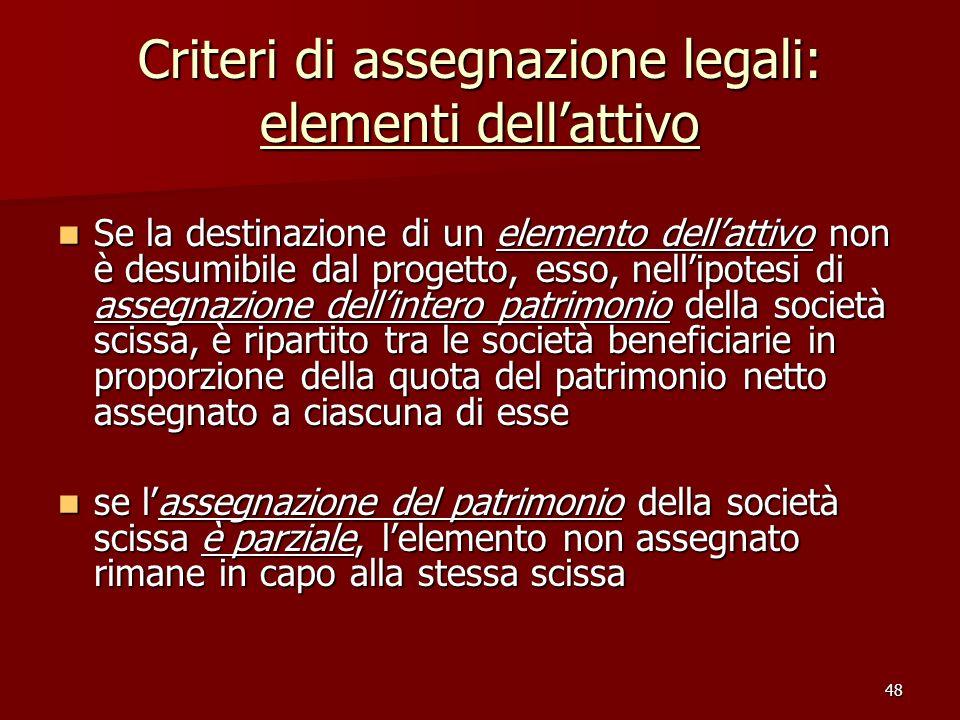 48 Criteri di assegnazione legali: elementi dellattivo Se la destinazione di un elemento dellattivo non è desumibile dal progetto, esso, nellipotesi d