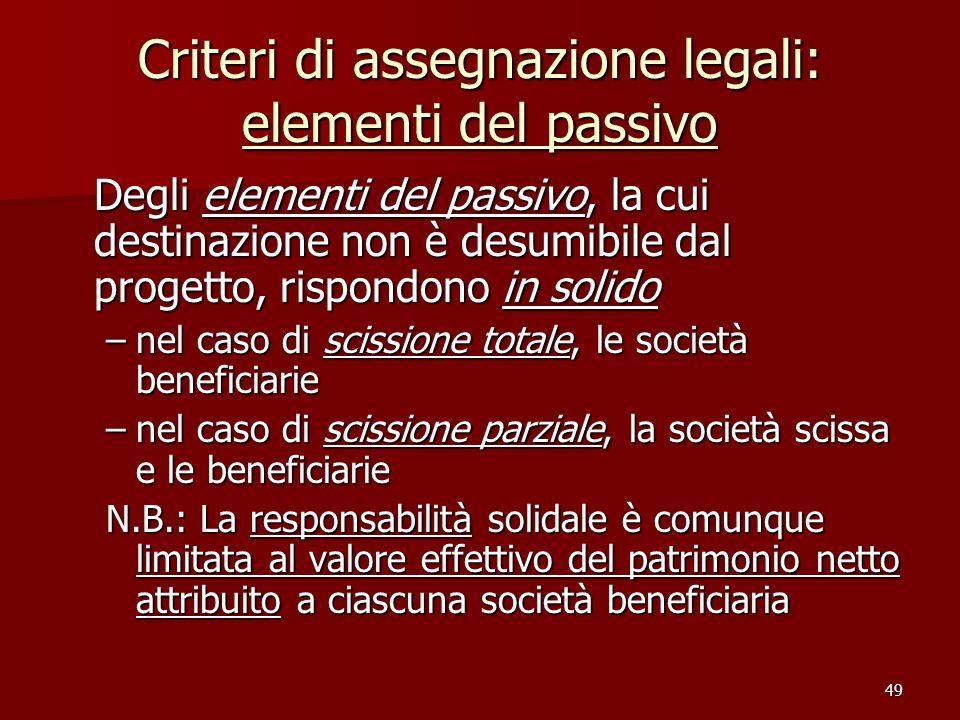 49 Criteri di assegnazione legali: elementi del passivo Degli elementi del passivo, la cui destinazione non è desumibile dal progetto, rispondono in s