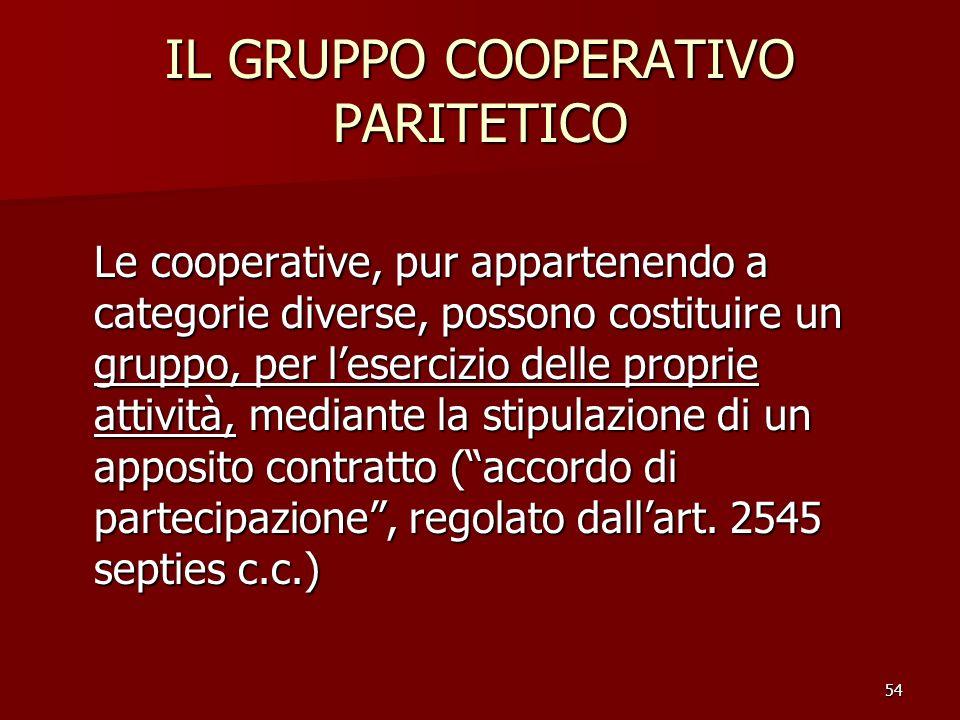 54 IL GRUPPO COOPERATIVO PARITETICO Le cooperative, pur appartenendo a categorie diverse, possono costituire un gruppo, per lesercizio delle proprie a