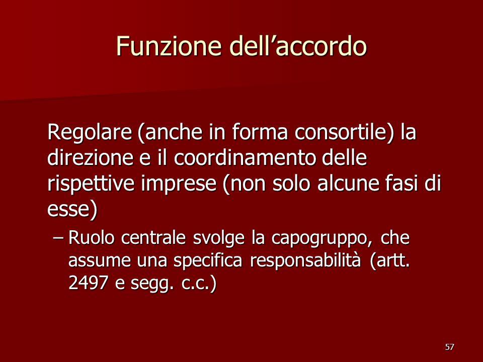 57 Funzione dellaccordo Regolare (anche in forma consortile) la direzione e il coordinamento delle rispettive imprese (non solo alcune fasi di esse) –