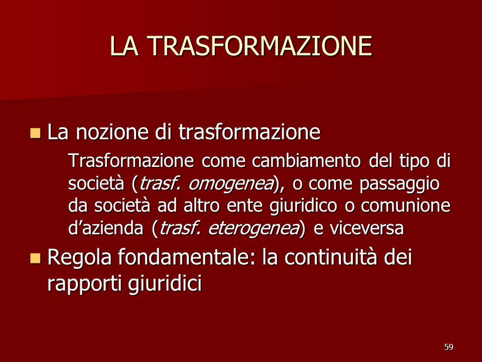 59 LA TRASFORMAZIONE La nozione di trasformazione La nozione di trasformazione Trasformazione come cambiamento del tipo di società (trasf. omogenea),