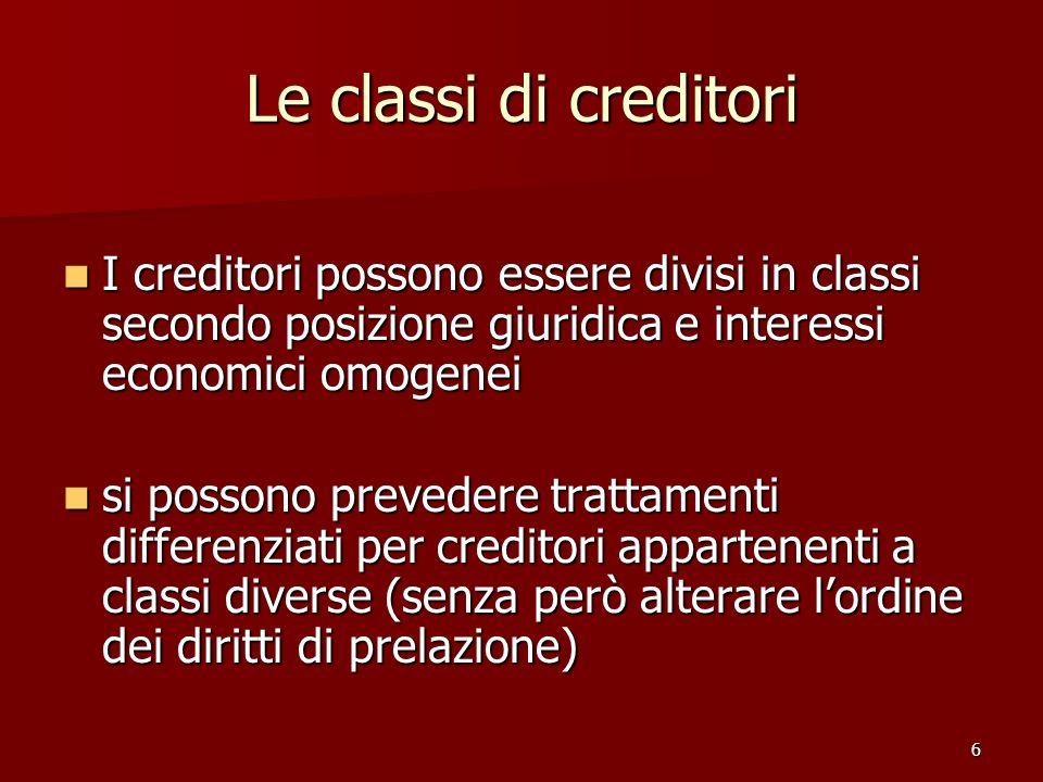 6 Le classi di creditori I creditori possono essere divisi in classi secondo posizione giuridica e interessi economici omogenei I creditori possono es
