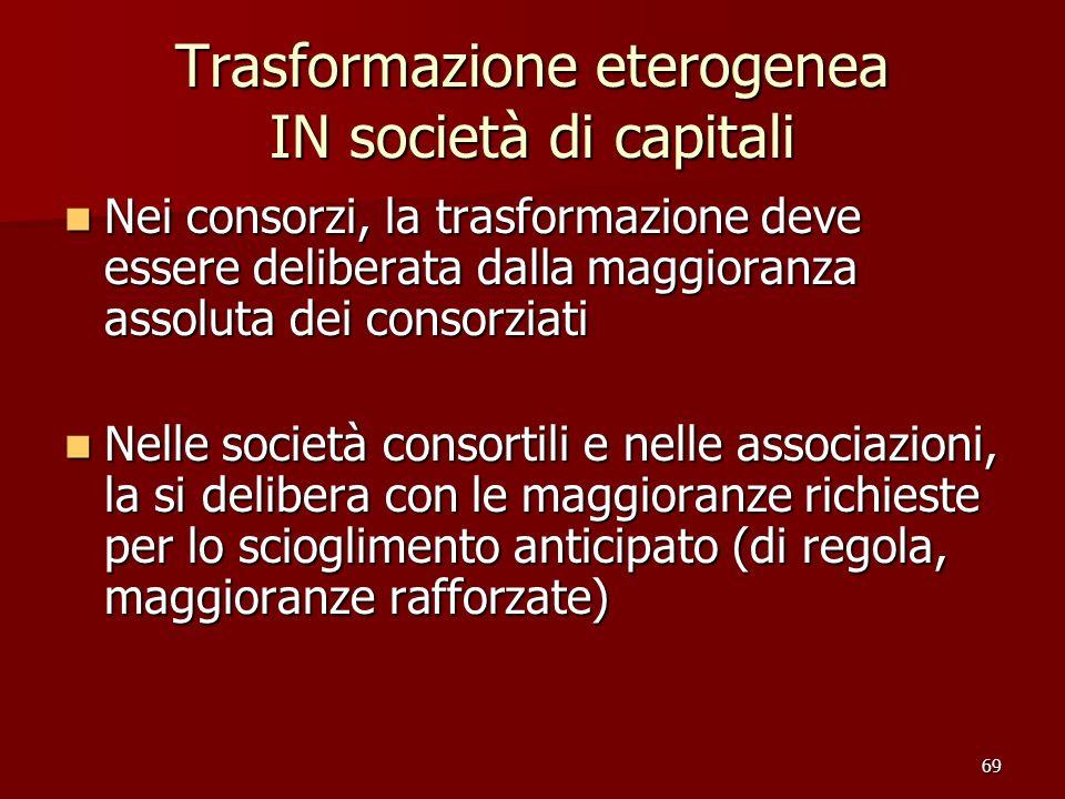 69 Trasformazione eterogenea IN società di capitali Nei consorzi, la trasformazione deve essere deliberata dalla maggioranza assoluta dei consorziati