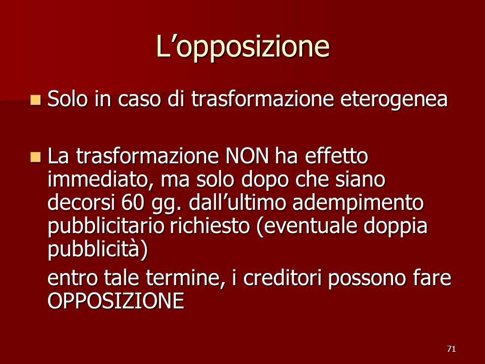 71 Lopposizione Solo in caso di trasformazione eterogenea Solo in caso di trasformazione eterogenea La trasformazione NON ha effetto immediato, ma sol