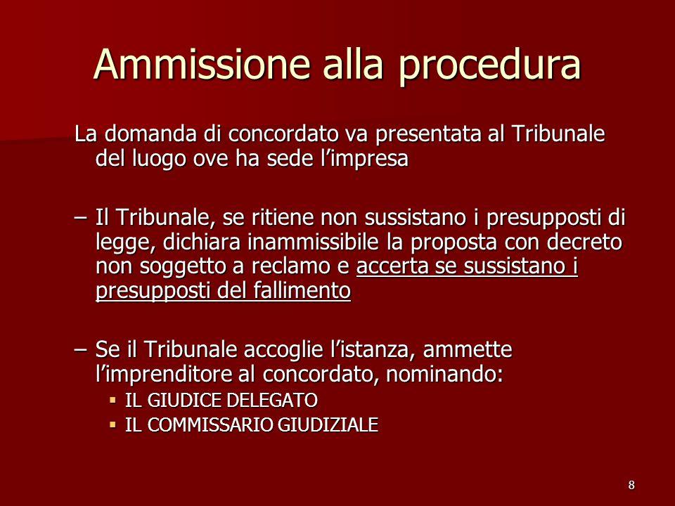 8 Ammissione alla procedura La domanda di concordato va presentata al Tribunale del luogo ove ha sede limpresa –Il Tribunale, se ritiene non sussistan