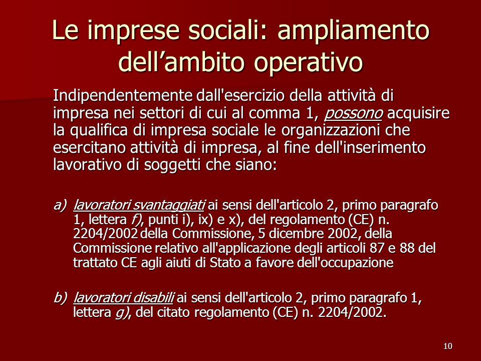 10 Le imprese sociali: ampliamento dellambito operativo Indipendentemente dall'esercizio della attività di impresa nei settori di cui al comma 1, poss