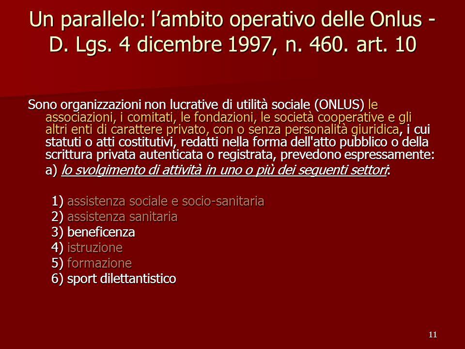 11 Un parallelo: lambito operativo delle Onlus - D. Lgs. 4 dicembre 1997, n. 460. art. 10 Sono organizzazioni non lucrative di utilità sociale (ONLUS)