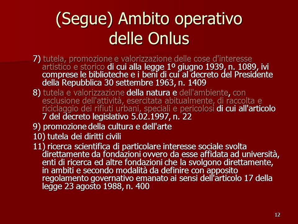12 (Segue) Ambito operativo delle Onlus 7) tutela, promozione e valorizzazione delle cose d interesse artistico e storico di cui alla legge 1º giugno 1939, n.