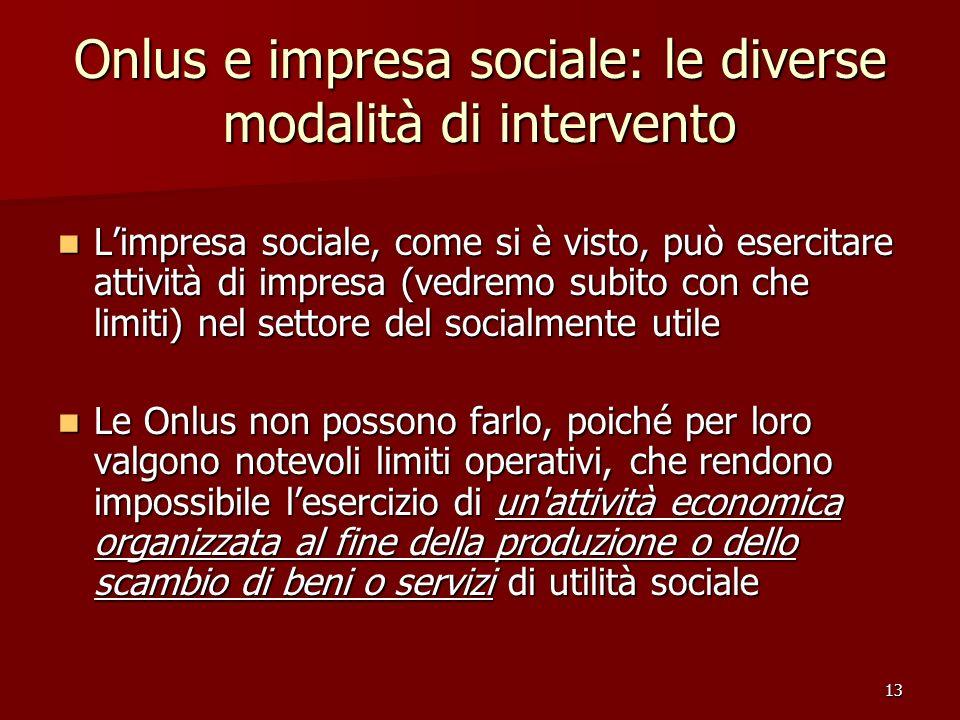 13 Onlus e impresa sociale: le diverse modalità di intervento Limpresa sociale, come si è visto, può esercitare attività di impresa (vedremo subito co