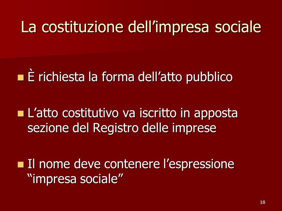 18 La costituzione dellimpresa sociale È richiesta la forma dellatto pubblico È richiesta la forma dellatto pubblico Latto costitutivo va iscritto in