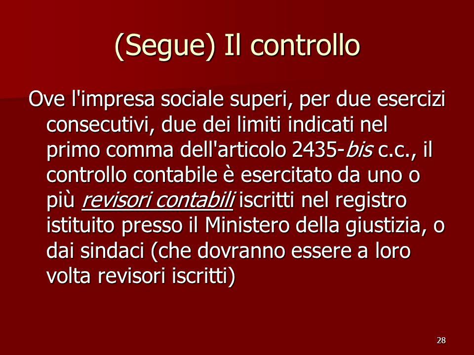 28 (Segue) Il controllo Ove l'impresa sociale superi, per due esercizi consecutivi, due dei limiti indicati nel primo comma dell'articolo 2435-bis c.c