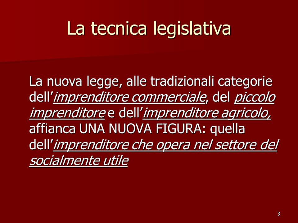 3 La tecnica legislativa La nuova legge, alle tradizionali categorie dellimprenditore commerciale, del piccolo imprenditore e dellimprenditore agricolo, affianca UNA NUOVA FIGURA: quella dellimprenditore che opera nel settore del socialmente utile