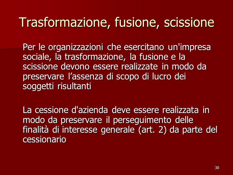 30 Trasformazione, fusione, scissione Per le organizzazioni che esercitano un'impresa sociale, la trasformazione, la fusione e la scissione devono ess