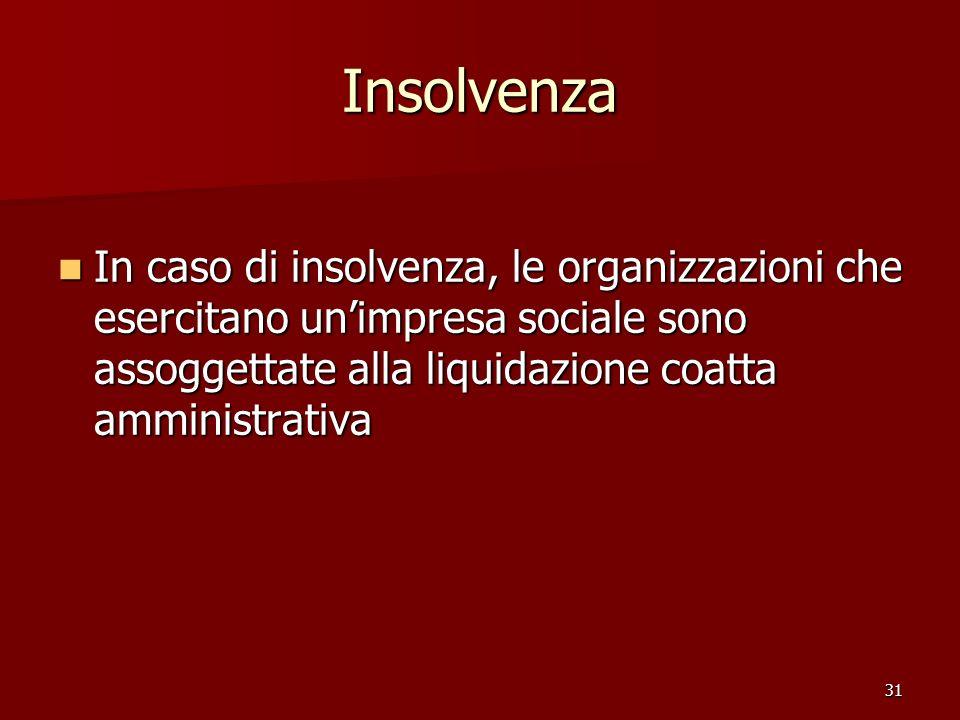 31 Insolvenza In caso di insolvenza, le organizzazioni che esercitano unimpresa sociale sono assoggettate alla liquidazione coatta amministrativa In caso di insolvenza, le organizzazioni che esercitano unimpresa sociale sono assoggettate alla liquidazione coatta amministrativa