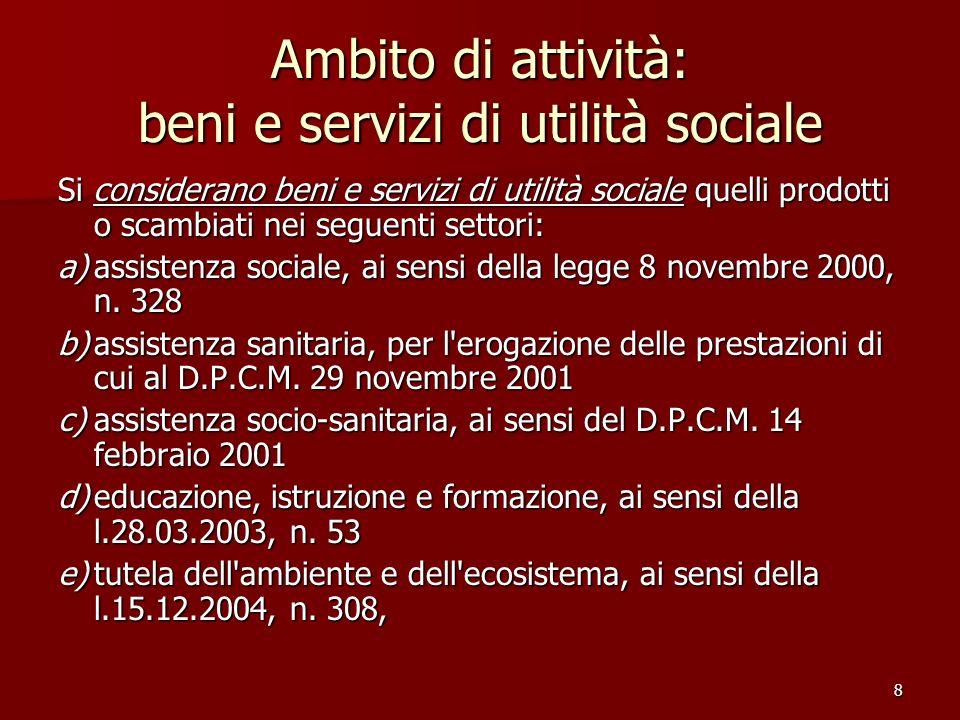 8 Ambito di attività: beni e servizi di utilità sociale Si considerano beni e servizi di utilità sociale quelli prodotti o scambiati nei seguenti settori: a)assistenza sociale, ai sensi della legge 8 novembre 2000, n.
