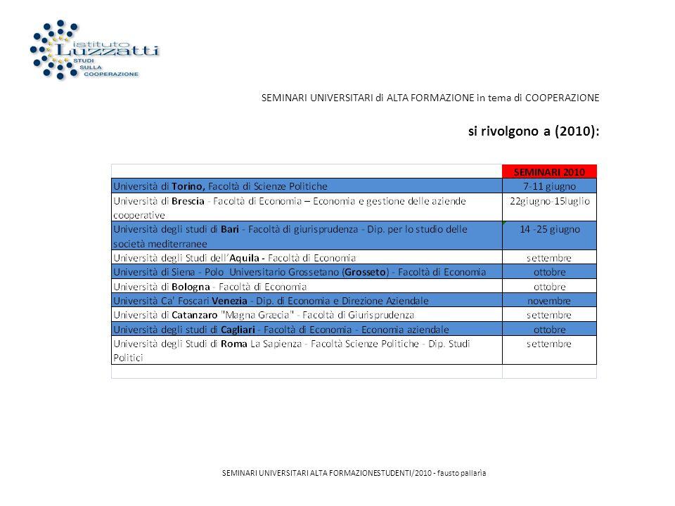 SEMINARI UNIVERSITARI di ALTA FORMAZIONE in tema di COOPERAZIONE si rivolgono a (2010): SEMINARI UNIVERSITARI ALTA FORMAZIONESTUDENTI/2010 - fausto pa