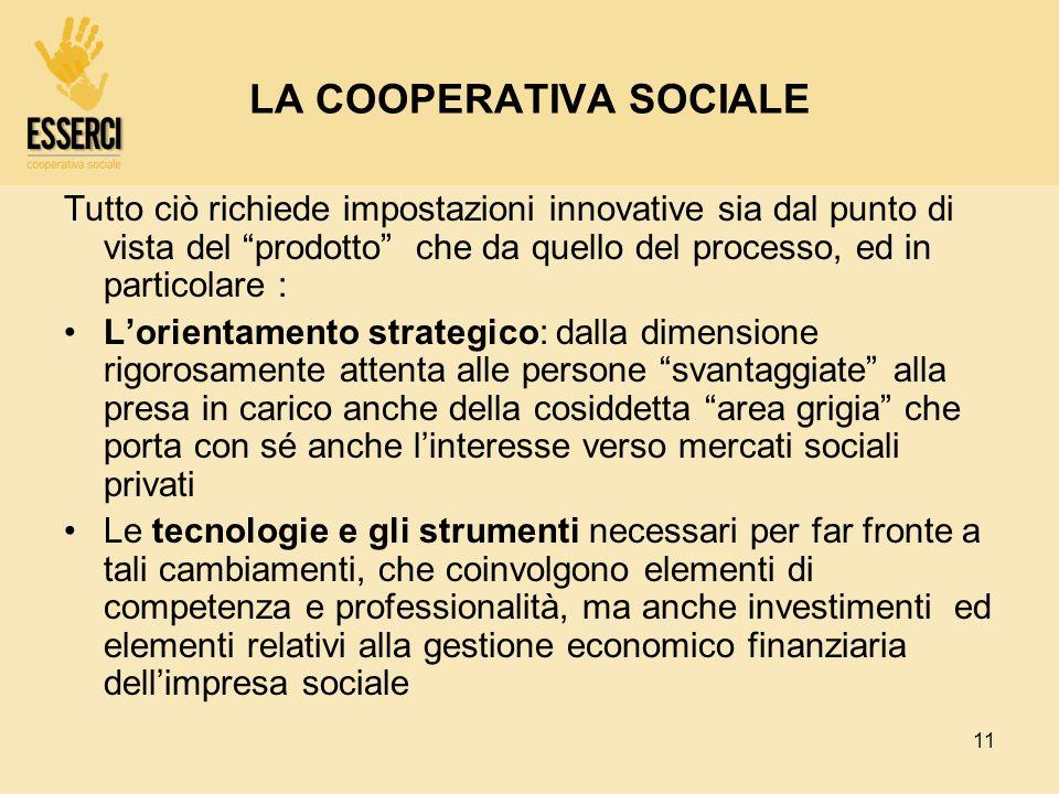 11 LA COOPERATIVA SOCIALE Tutto ciò richiede impostazioni innovative sia dal punto di vista del prodotto che da quello del processo, ed in particolare
