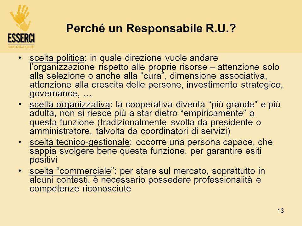 13 Perché un Responsabile R.U.? scelta politica: in quale direzione vuole andare lorganizzazione rispetto alle proprie risorse – attenzione solo alla