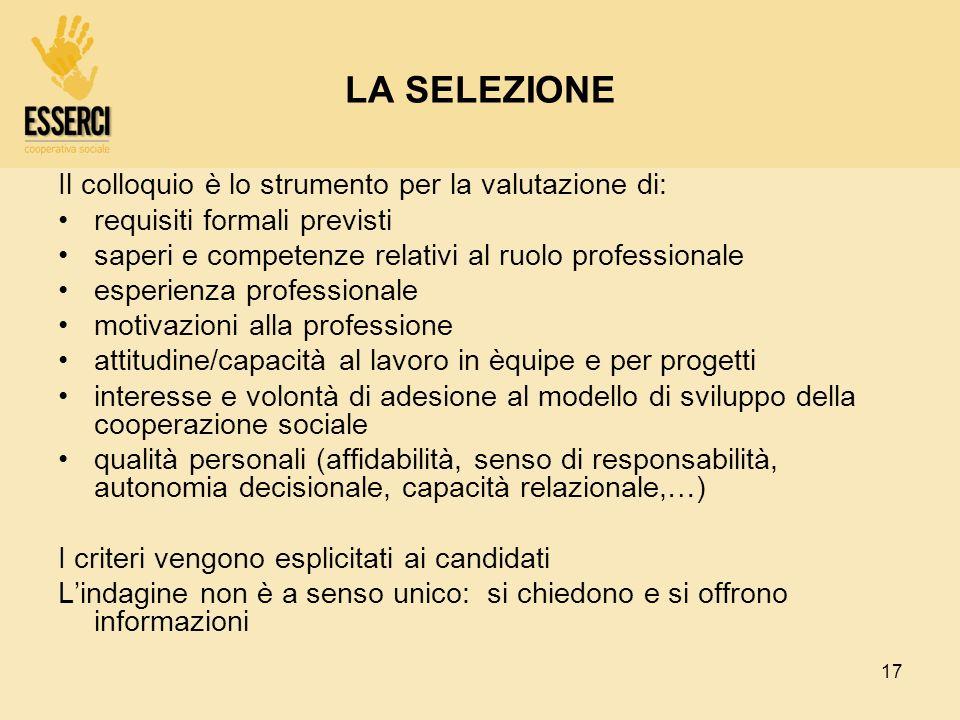17 LA SELEZIONE Il colloquio è lo strumento per la valutazione di: requisiti formali previsti saperi e competenze relativi al ruolo professionale espe