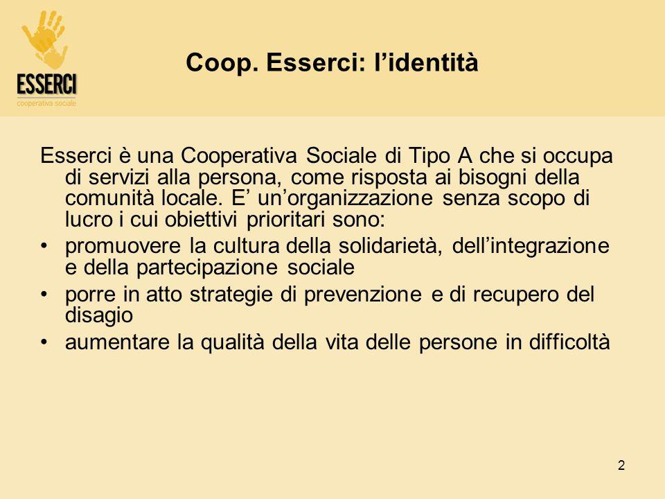 2 Coop. Esserci: lidentità Esserci è una Cooperativa Sociale di Tipo A che si occupa di servizi alla persona, come risposta ai bisogni della comunità