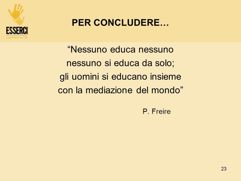 23 PER CONCLUDERE… Nessuno educa nessuno nessuno si educa da solo; gli uomini si educano insieme con la mediazione del mondo P. Freire
