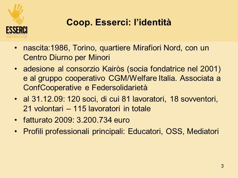 3 Coop. Esserci: lidentità nascita:1986, Torino, quartiere Mirafiori Nord, con un Centro Diurno per Minori adesione al consorzio Kairòs (socia fondatr